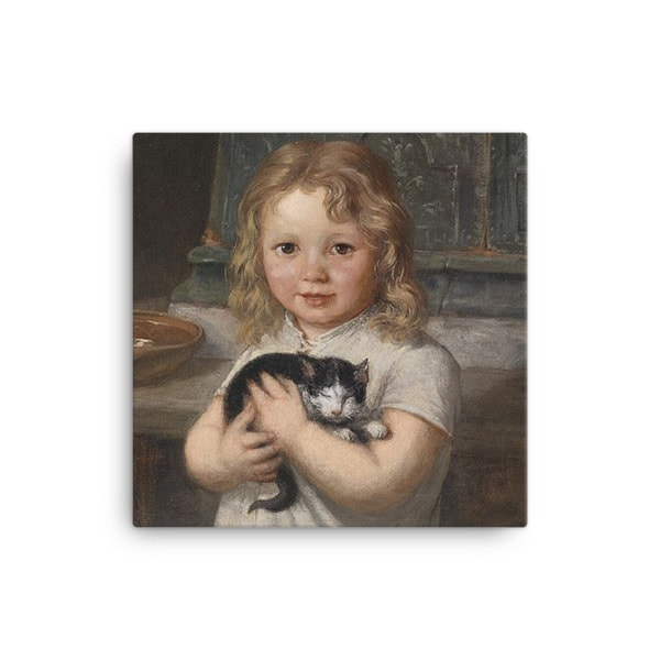 Georg Teibler: Girl with Kitten, Before 1911, Canvas Cat Art Print, 12×12