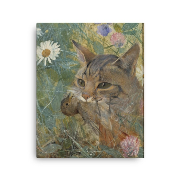 Bruno Liljefors: Cat with a Bird in its Mouth, 1885, Canvas Cat Art Print, 16×20