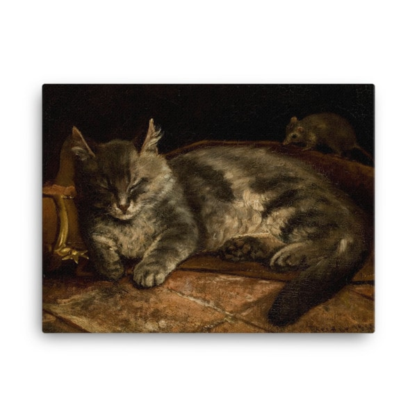 Adolf Von Becker: Sleeping Cat, 1864, Canvas Cat Art Print, 18×24