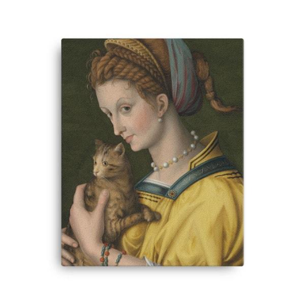 Francesco Bacchiacca: Portrait of a Young Lady Holding a Cat, 1525-30,canvas cat art print, 16×20