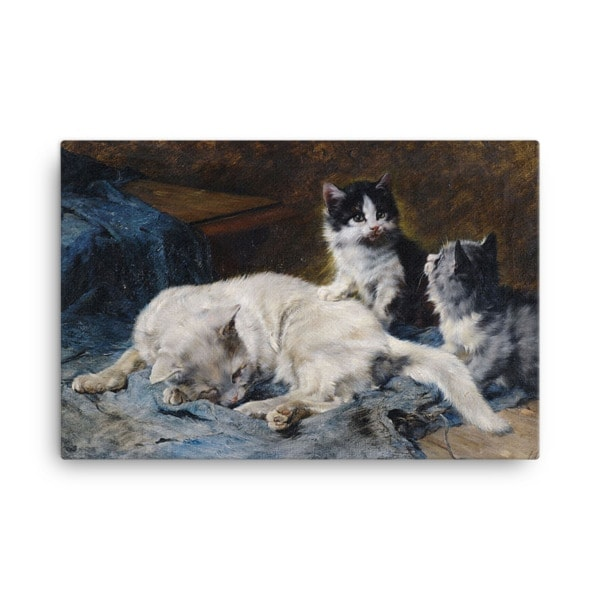 Julius Adam: Katzenmutter mit Zwei Katzchen, 1913, Canvas Cat Art Print, 16×20