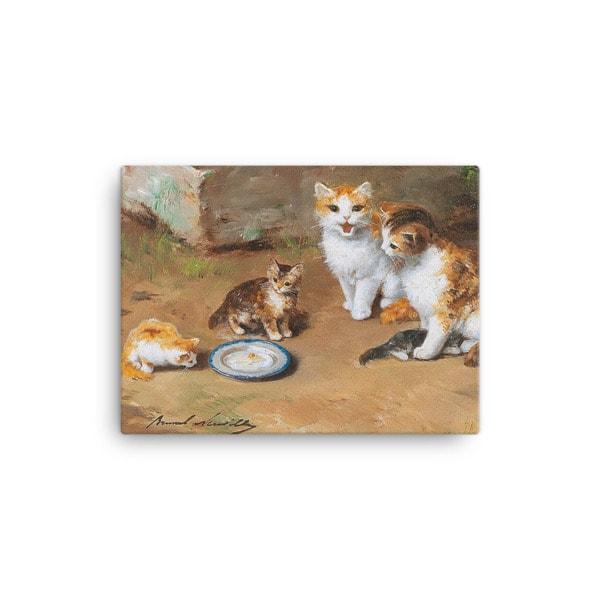 Alfred Brunel de Neuville: Cat Family, Before 1941, Canvas Cat Art Print, 12×16
