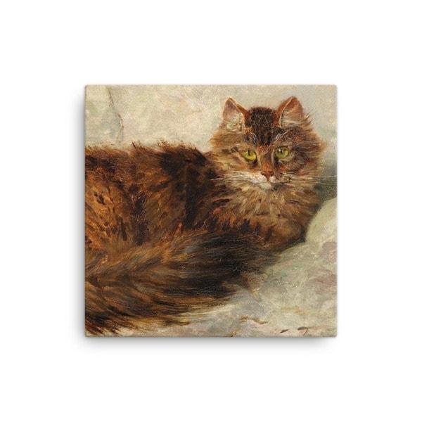 Henriette Ronner-Knip: Brown Cat Lying Down, Canvas Cat Art Print, 12×12