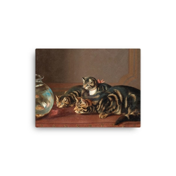 Horatio Henry Couldery: Cats by a Fishbowl, 19th Century Canvas Cat Art Print, 12×16