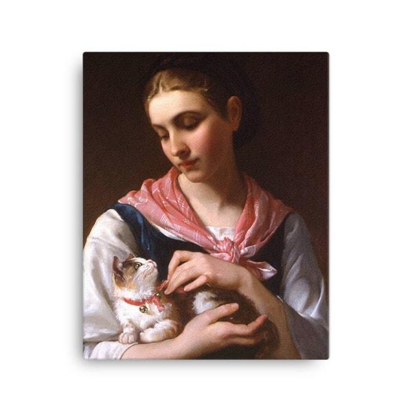 Emile Munier: The Favourite Kitten, 1874, Canvas Cat Art Print, 16×20