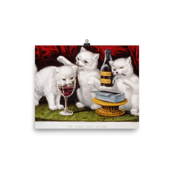 Currier and Ives: Three Jolly Kittens, 1871, Cat Art Poster, 8×10
