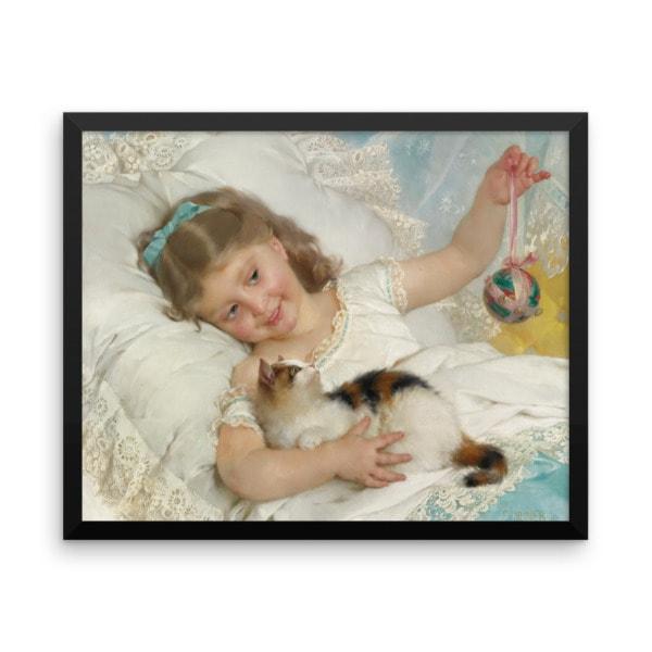 Emile Munier: La Petite Fille et Chat, 1882, Framed Cat Art Poster, 16×20