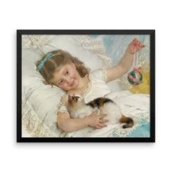 Emile Munier: La Petite Fille et Chat, 1882, Framed Cat Art Poster