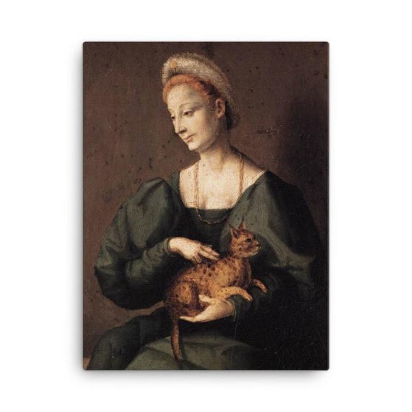 Francesco Bacchiacca: Woman with a Cat, 1540's canvas cat art print, 24×36