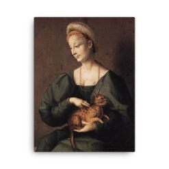Francesco Bacchiacca: Woman with a Cat, 1540's canvas cat art print