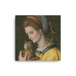 Francesco Bacchiacca: Portrait of a Young Lady Holding a Cat, 1525-30,canvas cat art print