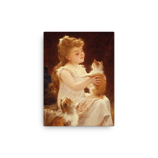 Emile Munier: Playing with the Kitten, 1893, Canvas Cat Art Print, 12×16