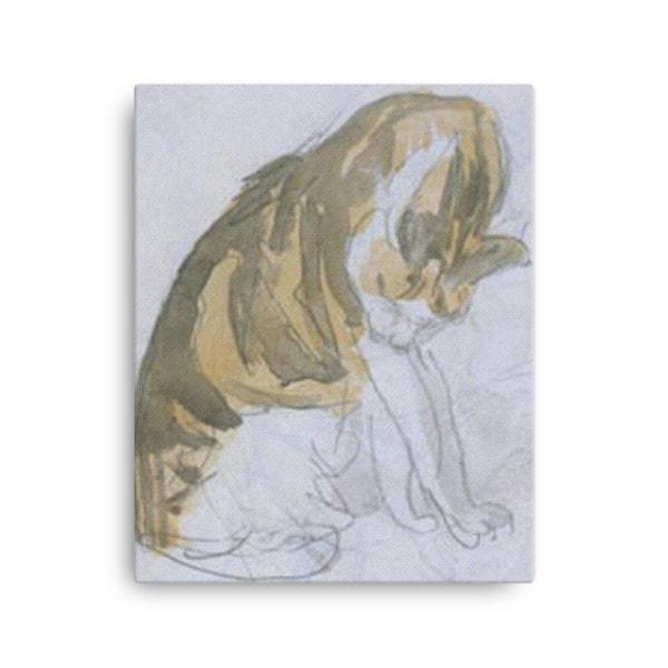 Gwen John: Cat Cleaning Itself, 20th Century, Canvas Cat Art Print, 16×20
