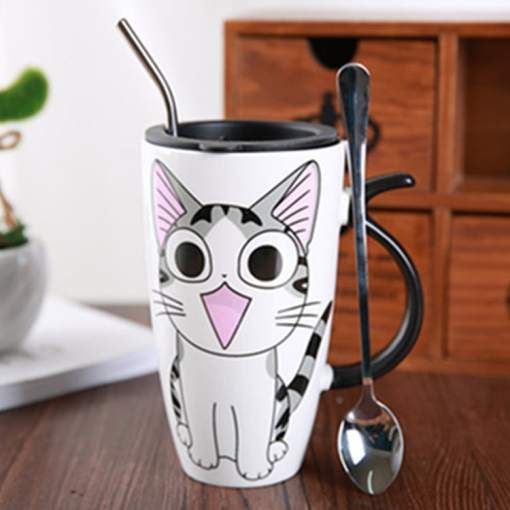 Cute Large Cat Ceramic Coffee Mug With Lid at The Great Cat Store