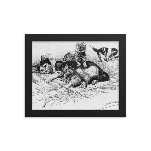 German Illustration of Cat and Kittens, 1889, Framed Cat Art Poster.  8×10