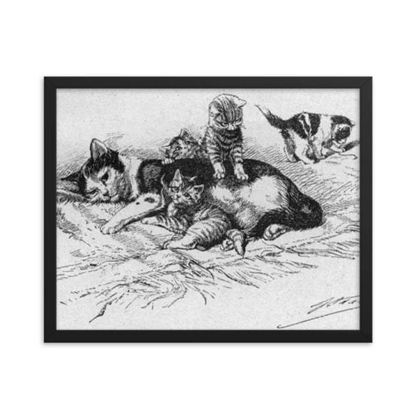 German Illustration of Cat and Kittens, 1889, Framed Cat Art Poster, 18×24