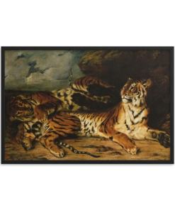Eugene Delacroix: A Young Tiger Playing with its Mother, 1831, Framed Cat Art Poster
