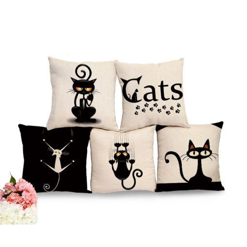 Black Cat Cotton Linen Decorative Pillow Cushion Cover