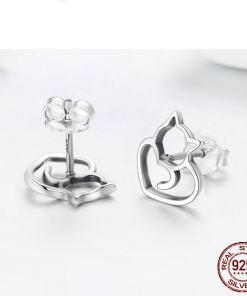 Sterling Silver Cat Design Stud Earrings