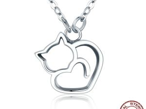 Luxury Sterling Silver Cat Pendant Necklace
