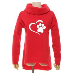 Women's Cowl Neck Cat Paw and Heart Sweatshirt