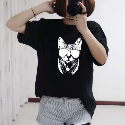 Women's Girl's Cat Design Short Sleeve T-Shirt