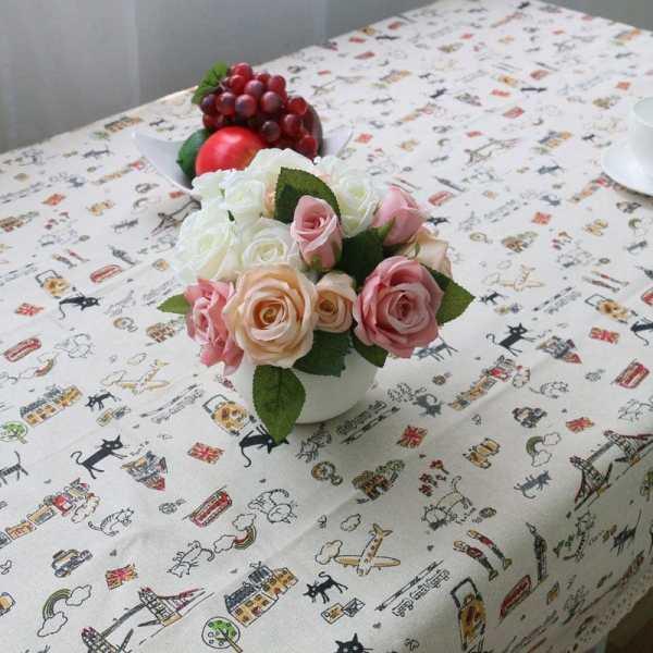 Decorative Cat Patterned Cotton Linen Table Cloth