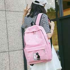 Cute Cat Canvas 4 PC Set Backpack-Schoolbag