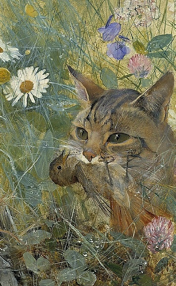Bruno Liljefors Cat with a Bird in Its Mouth 1885