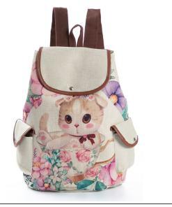 Casual Canvas Cat Print Kids School Backpack