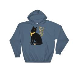 Cat-I'm a God. Get Over It Hooded Sweatshirt, INDIGO