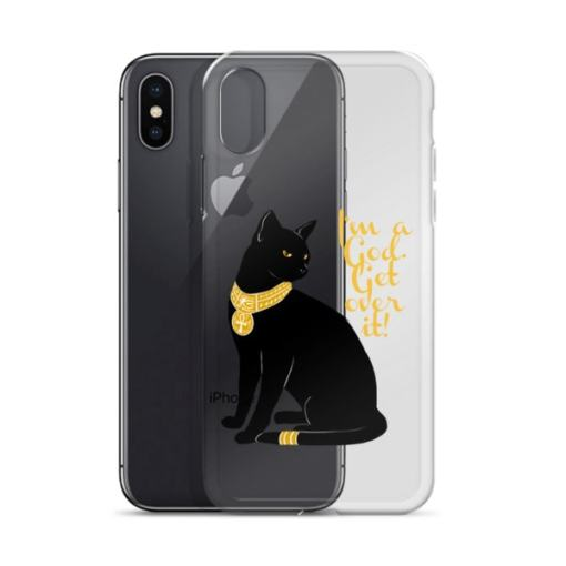 Cat-I'm a God, Transparent iPhone Case