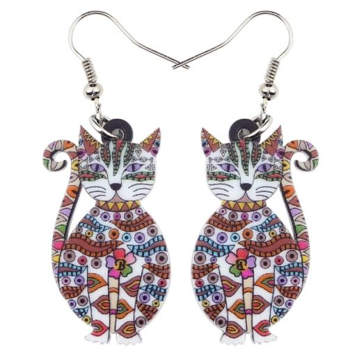 Multicolored Floral Cat Kitten Shaped Drop Earrings at the Great Cat Store