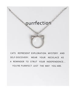Cat Face Outline Pendant Necklace at The Great Cat Store