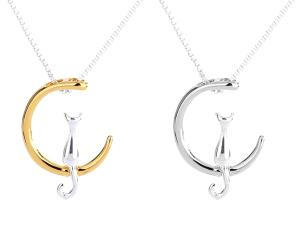 Cat Moon Pendant Necklace at The Great Cat Store