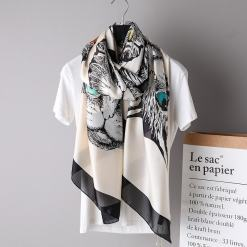 Large Silk Cat Design Scarf at The Great Cat Store