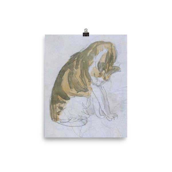 Gwen John: Cat Cleaning Itself, 20th Century, Poster 8×10