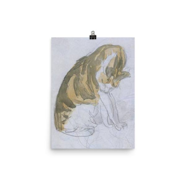 Gwen John: Cat Cleaning Itself, 20th Century, Poster 12×16