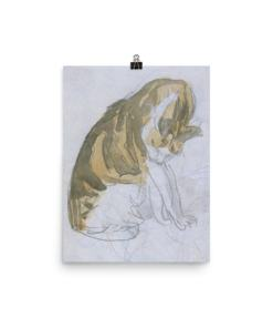 Gwen John: Cat Cleaning Itself, 20th Century, Poster 12x16
