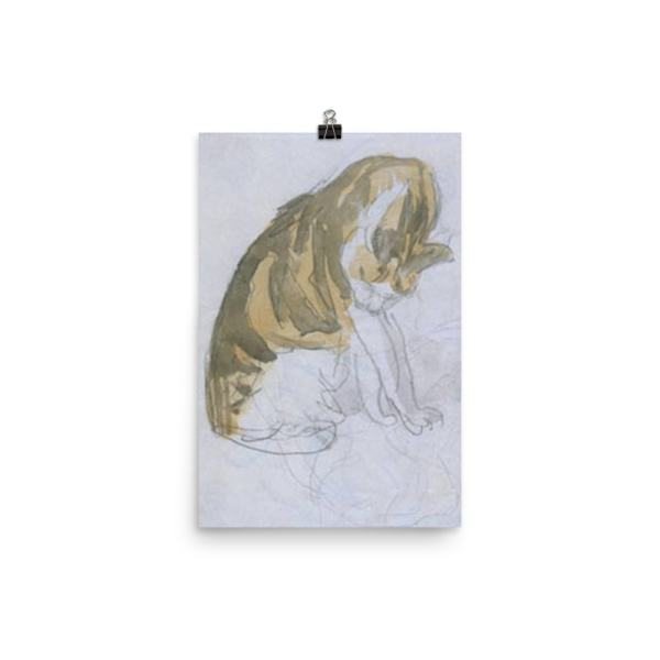 Gwen John: Cat Cleaning Itself, 20th Century, Poster 12×18