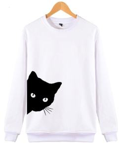 Black Cat Design Women's Cotton Hipster Sweatshirt at The Great Cat Store