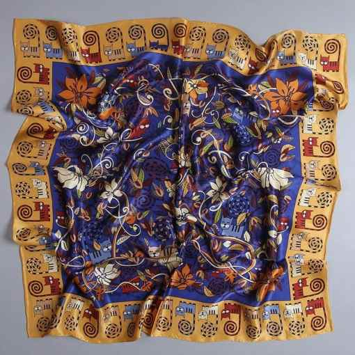 Cat Pattern Large Square Silk Scarf at The Great Cat Store