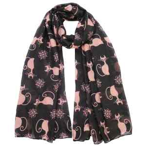 Black Cat Kitten Print Scarf