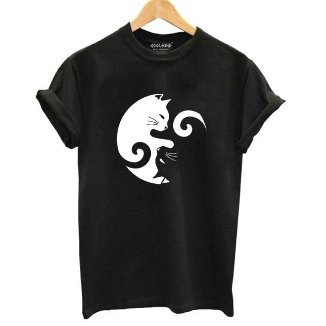 Yin Yang Cat Design 100% Cotton T-Shirt