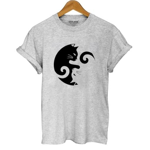 Women's Yin Yang Cat Design 100% Cotton T-Shirt