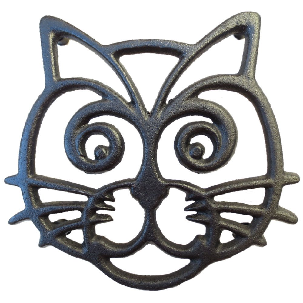 Cat Trivet - Black Cast Iron