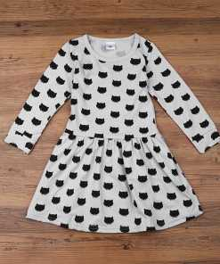 Black Cat Design Cotton Girl's Dress