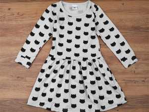 Black Cat Design Cotton Girl's Dress