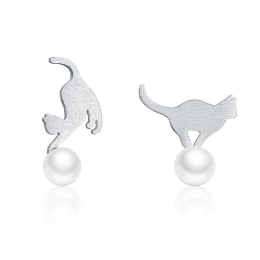 Sterling Silver Pearl Naughty Kitten Earrings