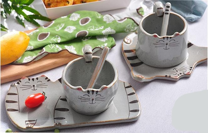 Handmade Cat Coffee Mugs with Plates
